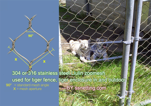 304 or 316 stainless steel Liulin zoo mesh used for tiger fence, tiger enclosure in and outdoor