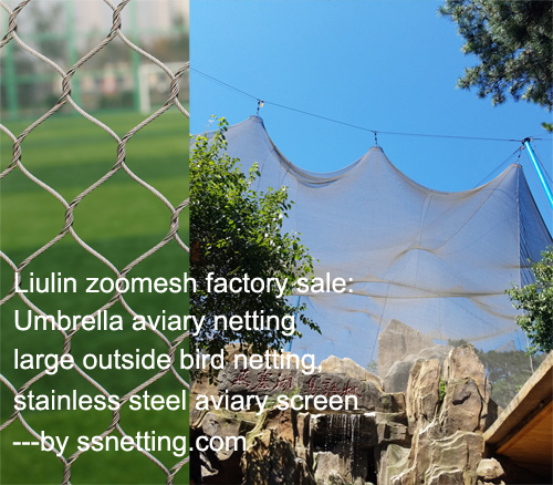Umbrella aviary netting, large outside bird netting, stainless steel aviary screen