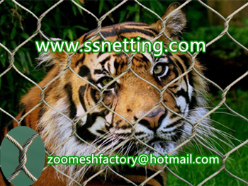 big cat enclosure fence, big cat cage enclosure, big cat wire rope netting, zoo cable mesh for big cat