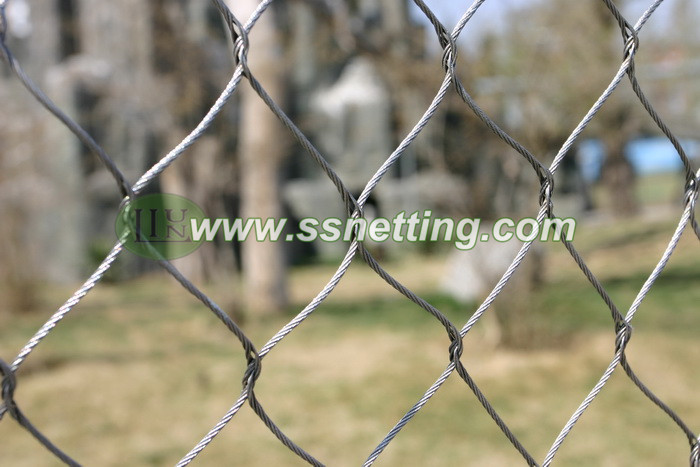 Stainless steel woven rope mesh, animal cage fence net, zoo hand-woven by steel wire rope mesh