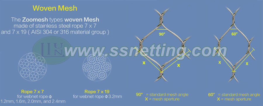 20 years factory specialized for producting steel wire rope netting mesh in China
