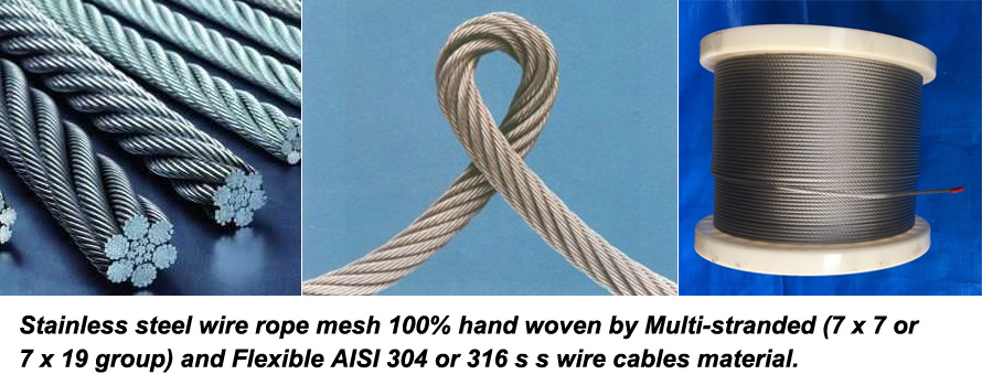 Stainless steel materials wire cable woven mesh