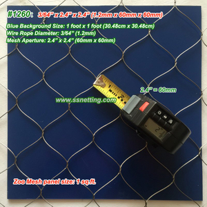 "Stainless Steel Wire Rope Mesh 3/64"", 2.4"" X 2.4"", ( 1.2mm, 60mm X 60mm)"