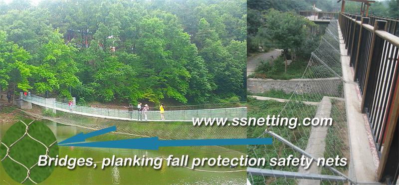 Bridges, planking fall protection safety nets
