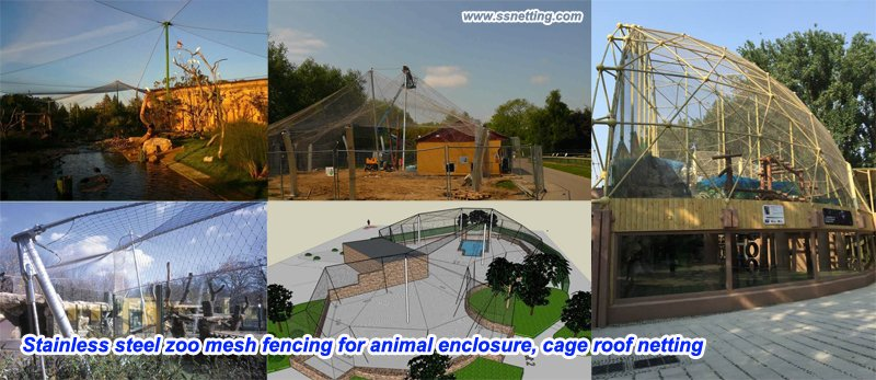 Stainless steel zoo mesh fencing for animal enclosure, cage roof netting .jpg