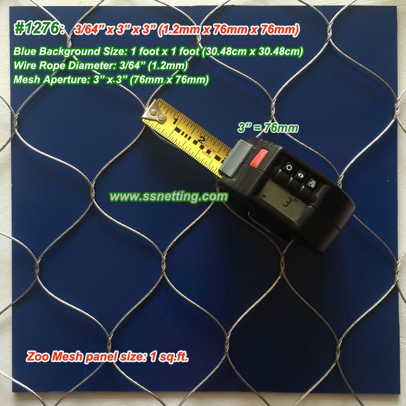 "Stainless Steel Wire Rope Mesh 3/64"", 3"" X 3"", ( 1.2mm, 76mm X 76mm)"