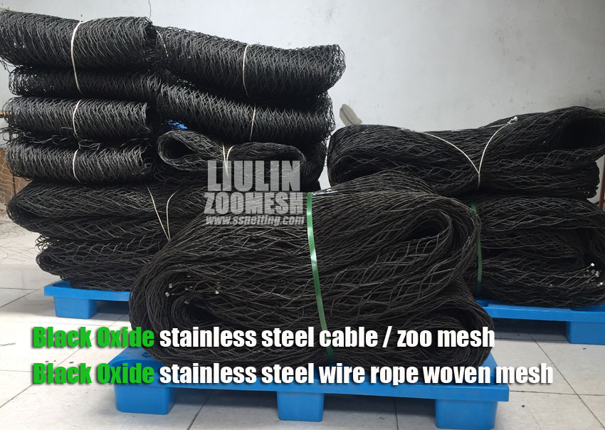 "BLACK OXIDE stainless steel zoo mesh can be customized mesh panel size, from 1"" to 70"" even larger, this is flexible that can avoid waste."
