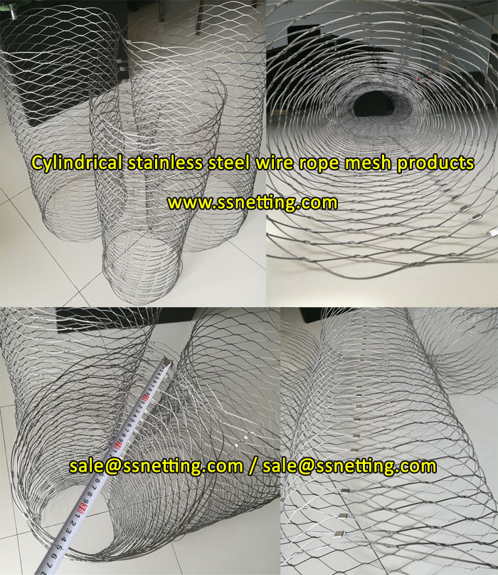 Cylindrical stainless steel wire rope mesh products