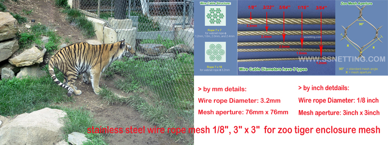 Zoo tiger enclosure mesh for sale and selection