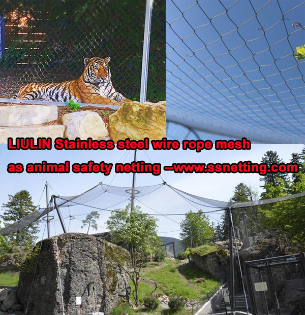 Stainless steel wire rope mesh as animal safety netting