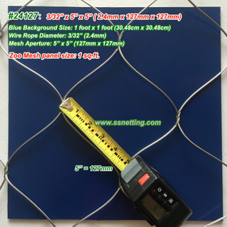"Stainless Wire Mesh Fencing 3/32"", 5"" X 5"", ( 2.4mm, 127mm X 127mm)"