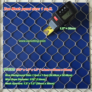 "Stainless Steel Mesh 1/16"", 1.2"" X 1.2"", ( 1.6mm, 30mm X 30mm)"