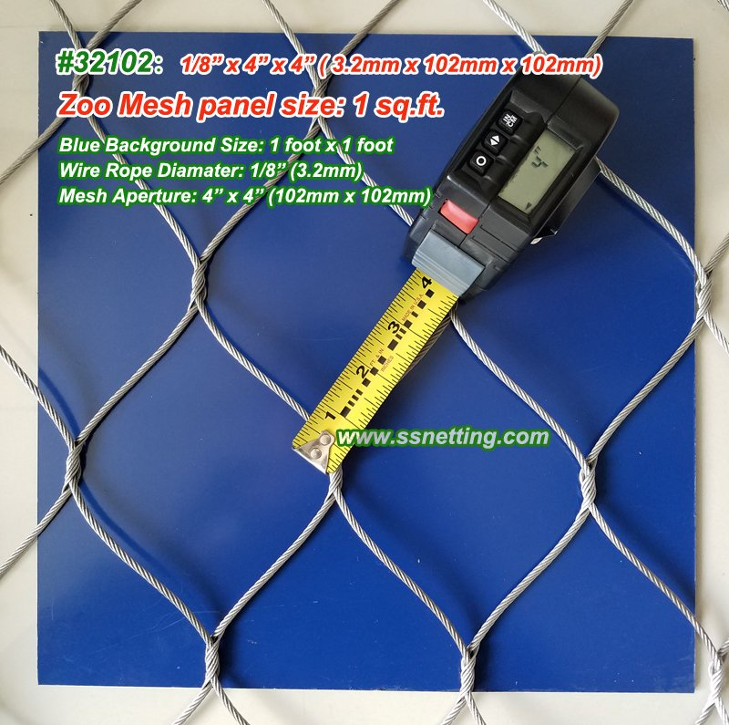 "Stainless Wire Netting 1/8"", 4"" X 4"", ( 3.2mm, 102mm X 102mm)"