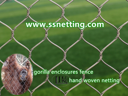 Gorilla enclosure barrier mesh design, stainless steel cable netting for gorilla exhibit enclosures