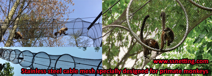 This animal channel constructed of stainless steel cable mesh is specially designed for primate monkeys