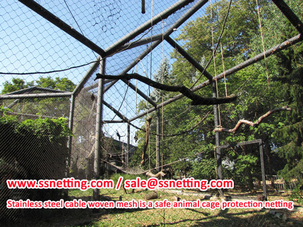 Stainless steel cable woven mesh is a safe animal cage protection netting