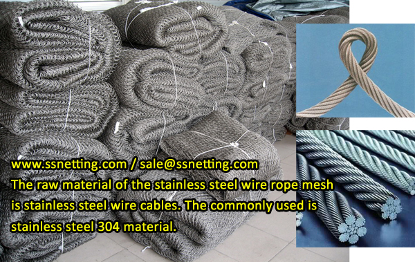 The raw material of the stainless steel wire rope mesh is stainless steel wire cables