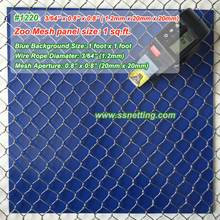 "Stainless Steel Cable Mesh 3/64"", 0.8"" X 0.8""; (1.2mm, 20mm X 20mm)"