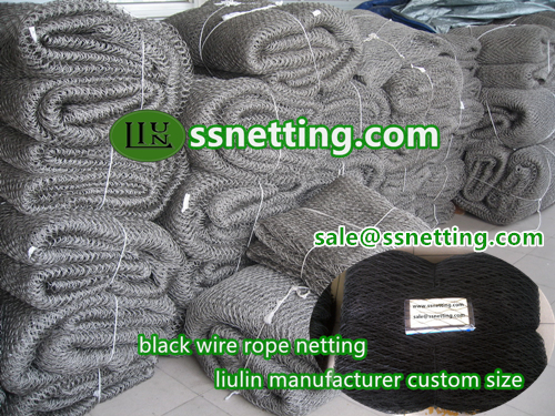 stainless steel black wire rope netting- liulin zoo mesh netting manufacturers